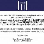 PRESENTACION DEL 1º NUMERO DE LRD CANTABRIA (LA REVISTA DE CANTABRIA)